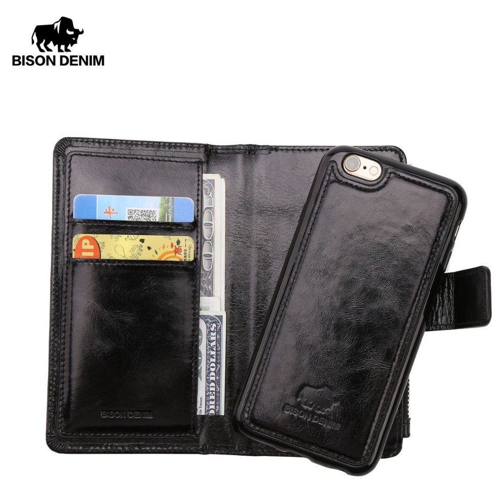 BISON DENIM Genuine Leather Wallet Men Case Card Holder