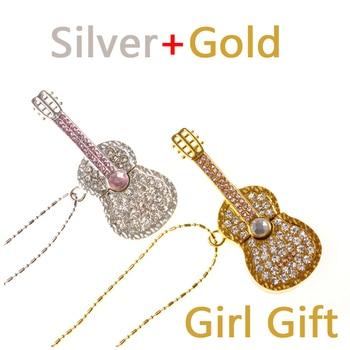 Guitar Necklace Gift USB 3.0 Flash Drive Fashion Jewelry Pendrive 16GB 32GB 64GB Pen Drive Flash USB Memory Stick 1TB 2TB 128GB