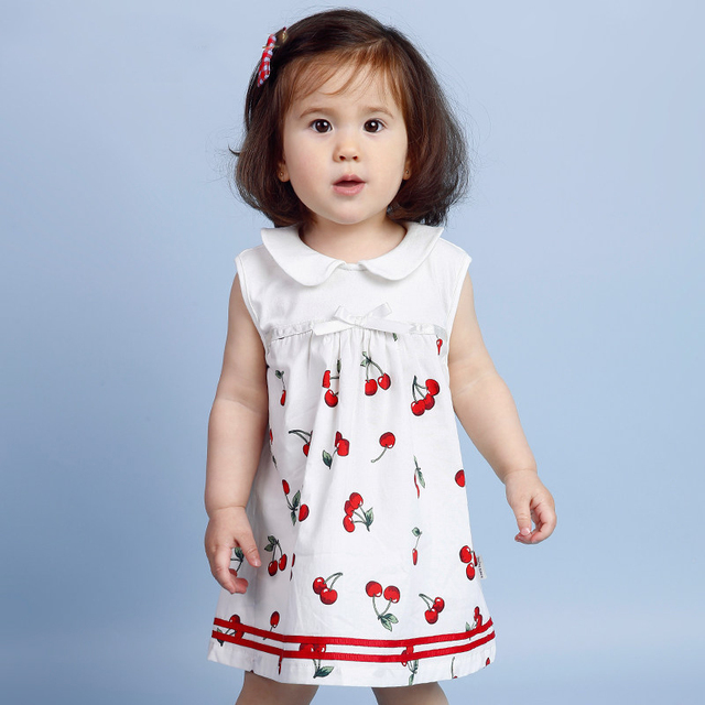 d65ed8872 2016 Cute Baby Girl Dress Summer Dress for 1 Year Girl Baby Old Birthday  Infant New Born Clothing Baby Frock Design Cherry Print