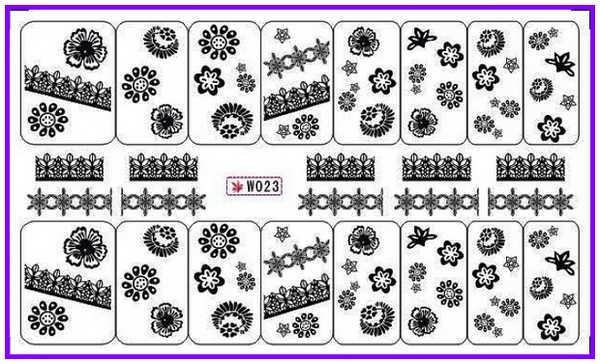 GLITTER POWDER NAIL TATTOOS STICKER WATER DECAL NAIL ART BOW TIE KNOT LACE BLACK WHITE SMILE LINE W19-24
