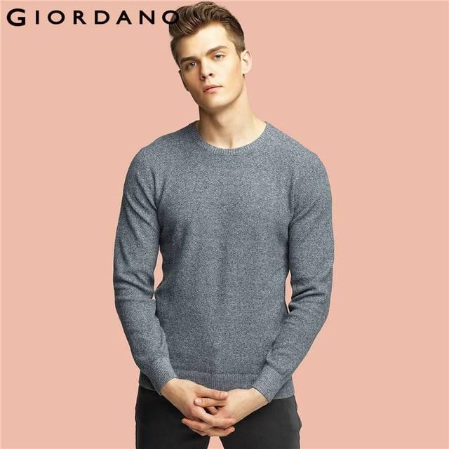 Giordano Männer Pullover Langen Ärmeln Reine Baumwolle Stricken Tragen  Oansatz Pullover Hombre Masculinas Casual Pullover Jersey ccd5201bd3