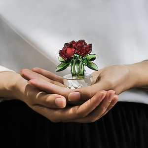 Image 4 - H & D אדום קריסטל רוז האהבה מתנות זר פרחים צלמיות חלומות קישוט עם אריזת מתנה בית חתונת דקור