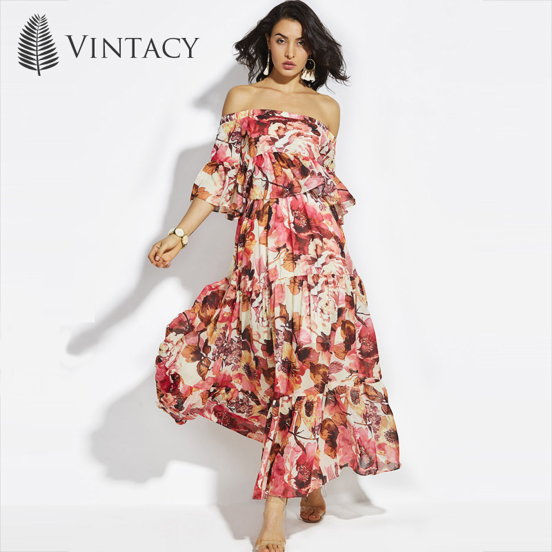 214afd38f1a Vintacy Maxi Chiffon Dress Red Floral Sexy Off Shoulder Ruffles Summer  Dress Women Flare Sleeve Pleated Plus Size Long Dress-in Dresses from  Women s ...