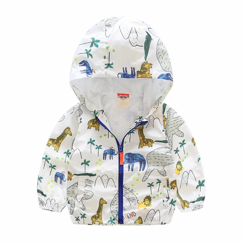 Mioigee 2018 для маленьких мальчиков пальто Детская куртка с капюшоном для Обувь для мальчиков с животным принтом верхняя одежда детская Ветровк...