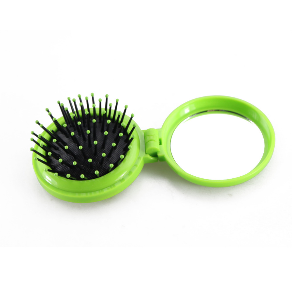 Girls Travel Folding Hair Brush Brush With Mirror Pocket Size Comb Random Colors