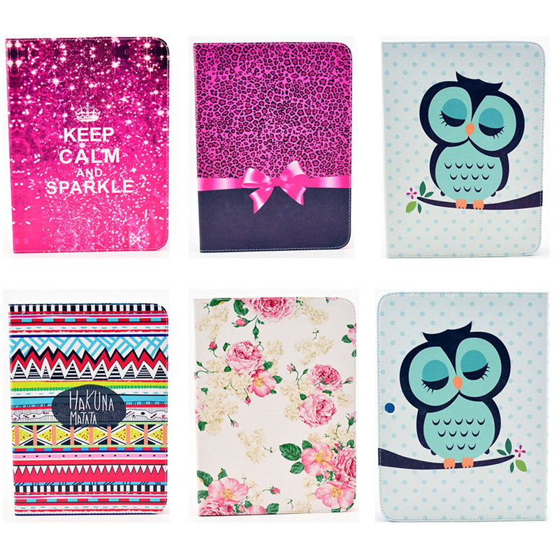 Fashion Bowtie Rose Owl Pattern Wallet Flip PU Leather Tablet Back Cover For Samsung GALAXY Tab 3 10.1 P5200 P5210 GT-P5200 Case