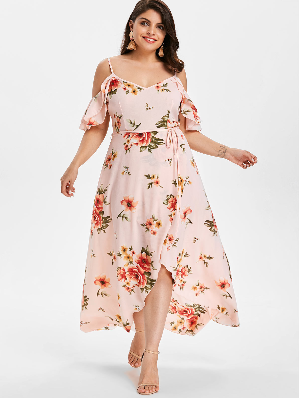 US $14.01 39% OFF|Wipalo Plus Size Cold Shoulder Belt Overlap Floral Print  Dress Women Spaghetti Strap Half Sleeves Dresses Bohemian Beach Dress-in ...