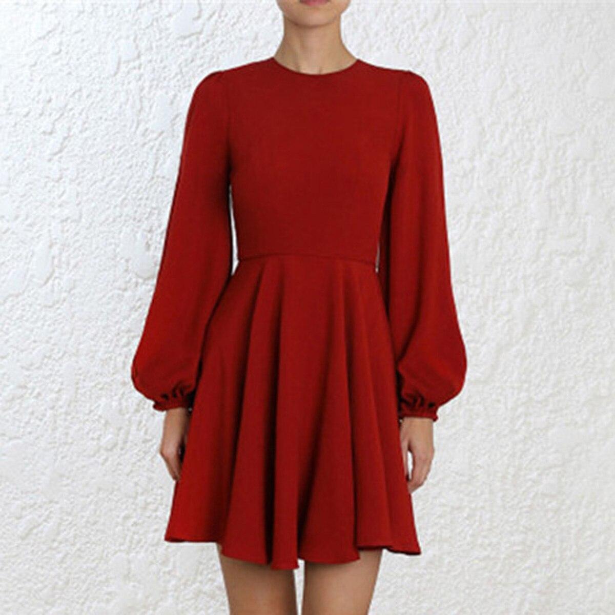 Taille A Dame cou Blouson O Manches Bureau Femmes ligne Robes Robe Mini Mince Empire Automne Rouge Jastie Printemps R0ZSfqwf