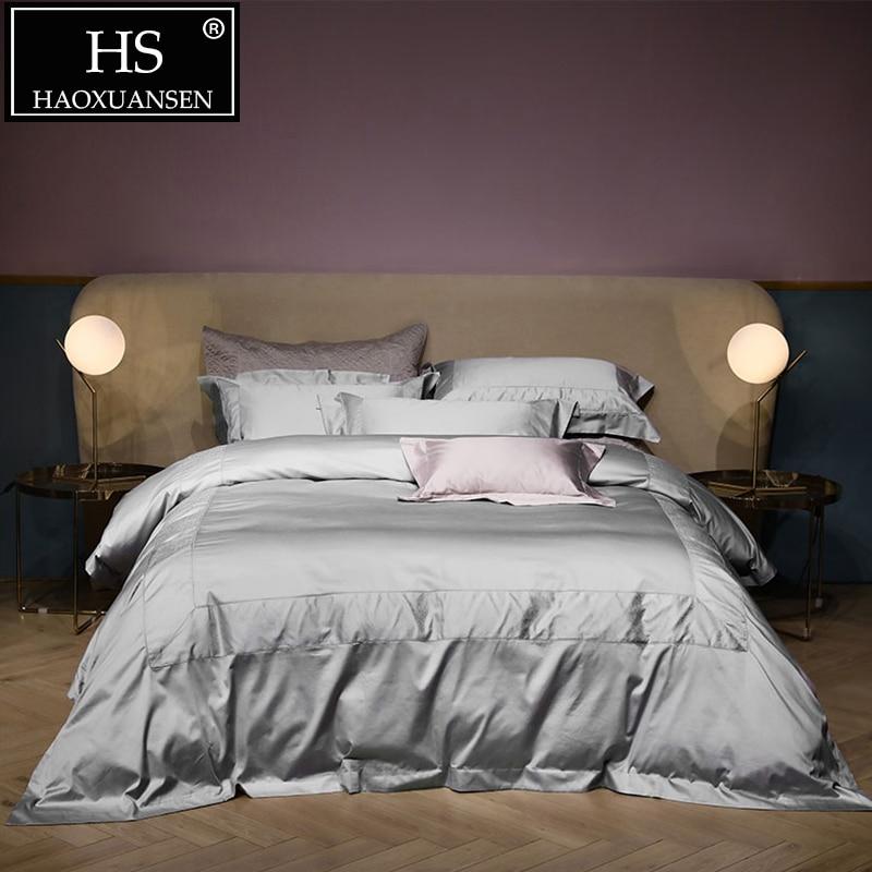 Luxurious 100 Egyptian Cotton Light Gray Jacquard Bedding
