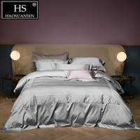 Luxurious 100% Egyptian Cotton Light Gray Jacquard Bedding Sets 800 Thread Count 4pcs Nordic Bed Cover Queen King Bed Linen Set