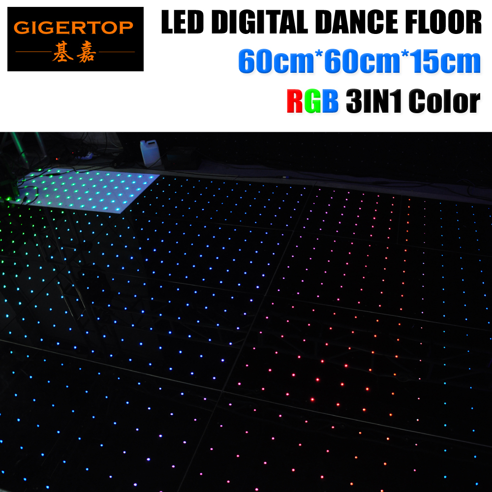 Ex-Works Price 60cmx60cm Led Digital Dancing Floor RGB 3IN1 6X6 Dot Pixel Acrylic Panel White/Black Dance Stage Floor 6mm Thick