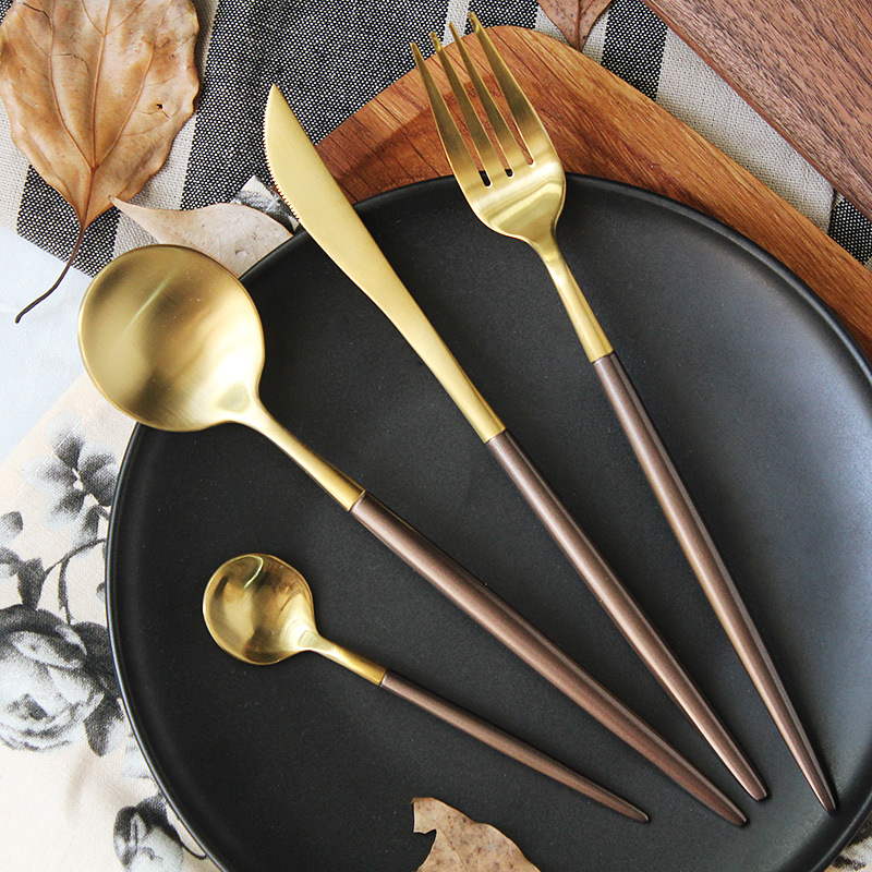 Plating Brown Silver Gold Dinnerware Set Stainless <font><b>Steel</b></font> Knife Fork Tableware Set Cutlery Coffee Handle Western Food Set 4pcs