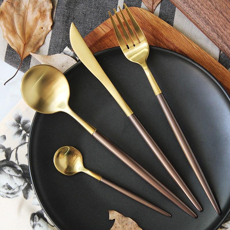 Plating Brown Silver Gold <font><b>Dinnerware</b></font> <font><b>Set</b></font> Stainless Steel <font><b>Knife</b></font> Fork Tableware <font><b>Set</b></font> Cutlery Coffee Handle Western Food <font><b>Set</b></font> 4pcs