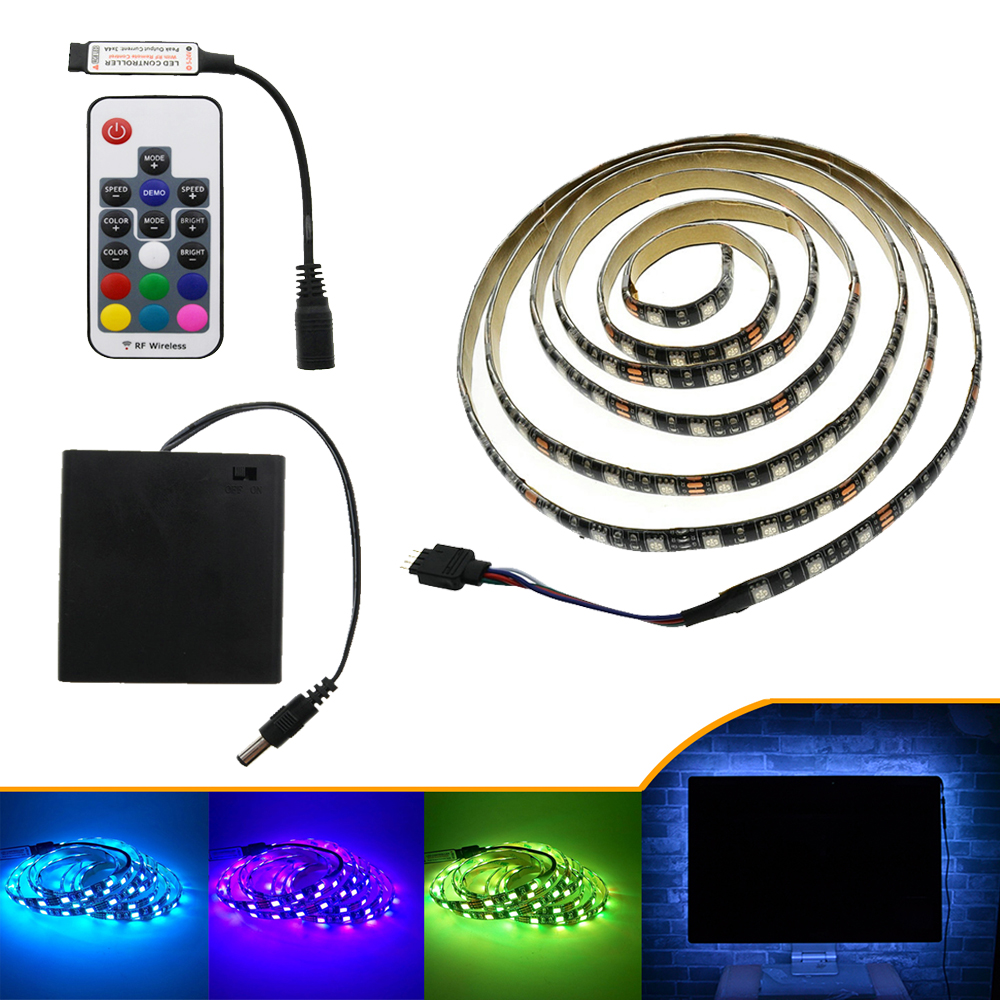 LED traka 5050 RGB 5V crna PCB traka rasvjeta DIY Početna - LED Rasvjeta