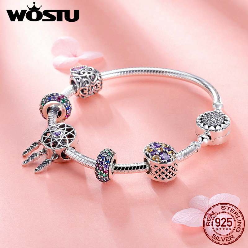 WOSTU High Quality 925 Sterling Silver Dream Catcher Colorful CZ Charm Bracelet Bangle For Women Luxury