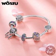 WOSTU High Quality 925 Sterling Silver Dream Catcher Colorful CZ Charm Bracelet Bangle For Women Luxury S925 Jewelry Gift FIB809