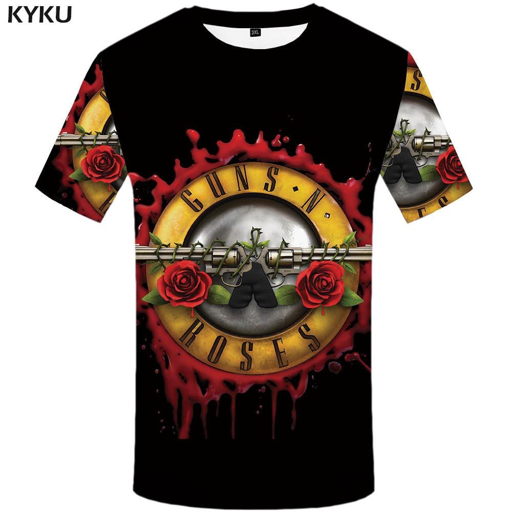 KYKU Roses And Guns T shirt Band Tops Guns N Roses Clothing Tshirt Shirts Tees Men Funny 2017 Hip hop Sexy High Quality