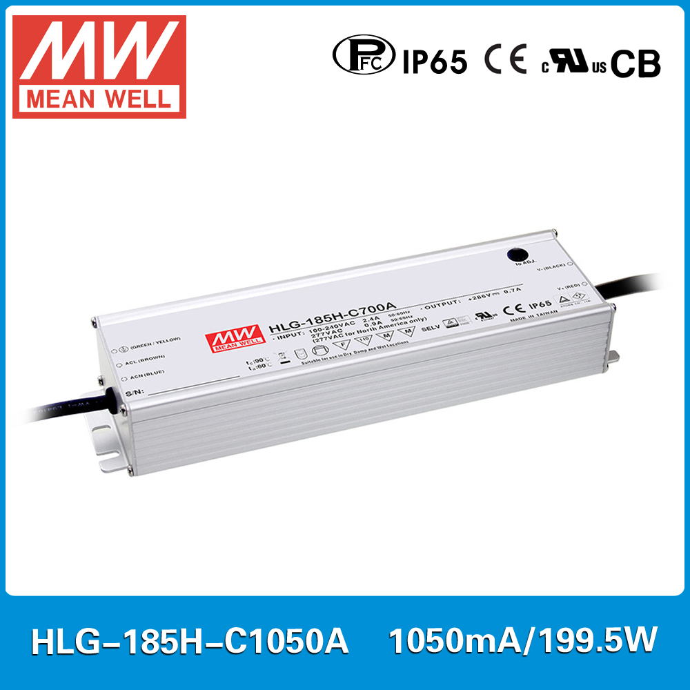все цены на MEAN WELL constant current LED Power supply HLG-185H-C1050A 95~190V 1050mA 200W PFC waterproof and current adjustable A type онлайн