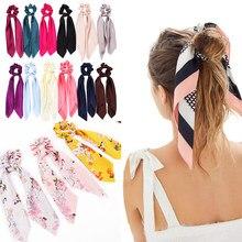 Lazo largo de satén con estampado Floral para mujer y niña, cinta para cola de caballo, gomas elásticas para atar el pelo, accesorios para el cabello