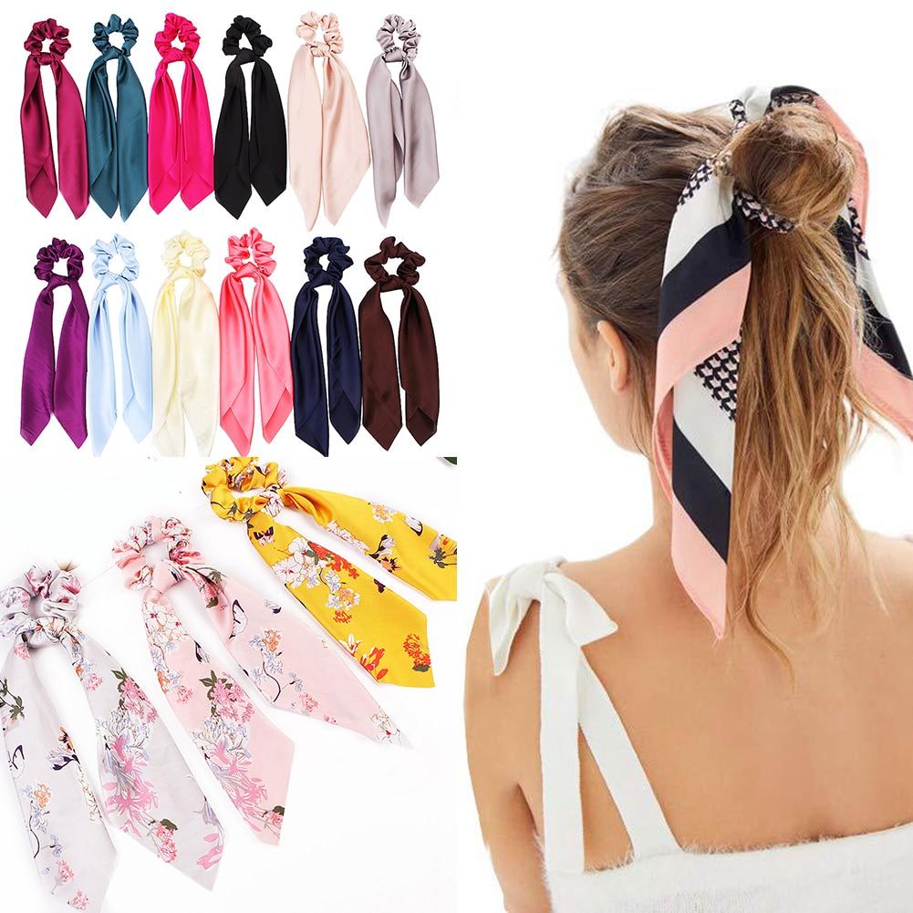 DIY Solide/Floral Print Bogen Satin Lange Band Pferdeschwanz Schal Haar Krawatte Scrunchies Frauen Mädchen Elastische Haar Bands Haar zubehör