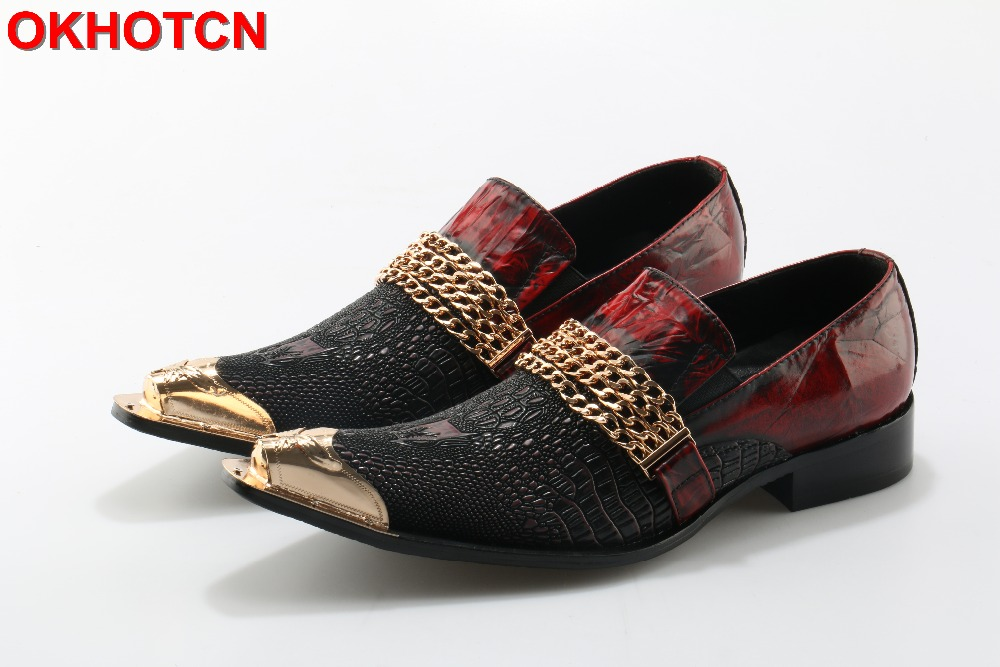 все цены на Handmade Alligator Leather Metal Toe Men Shoes With Gold Chain Buckle Black Red Party Banquet Men Dress Wedding Loafers Shoes онлайн