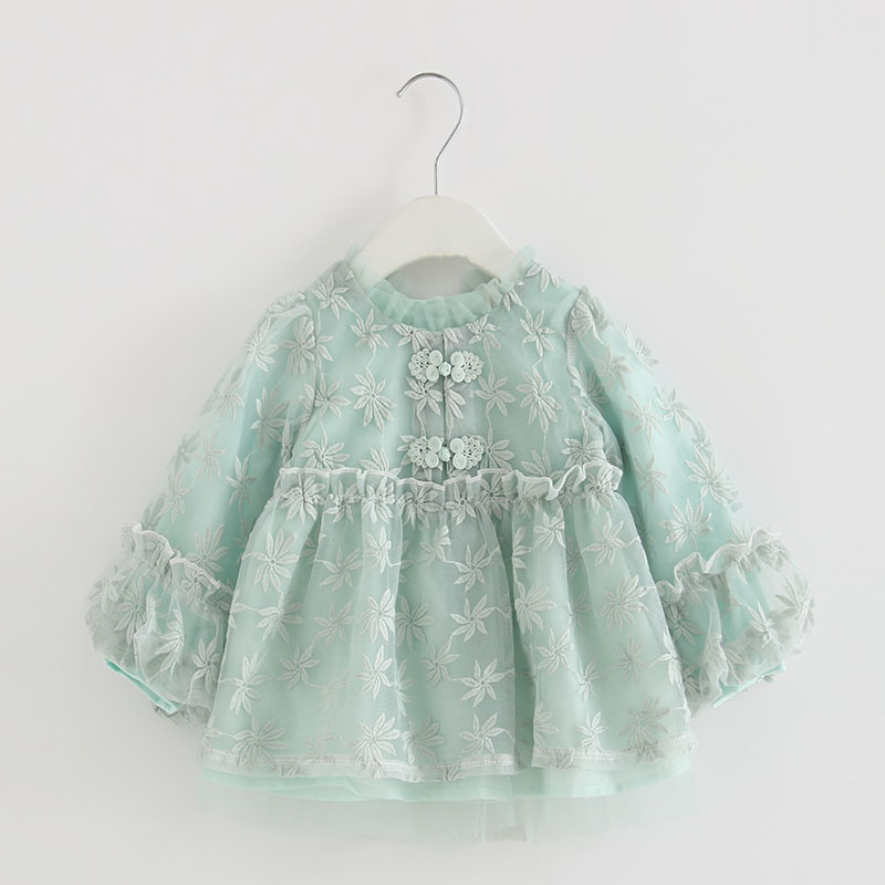Image 4 - Baby Girls Infant Dress&clothing Autumn Chinese Style Embroidery Lantern Sleeve Kids Party Birthday Outfits Christening 3ColorDresses   -