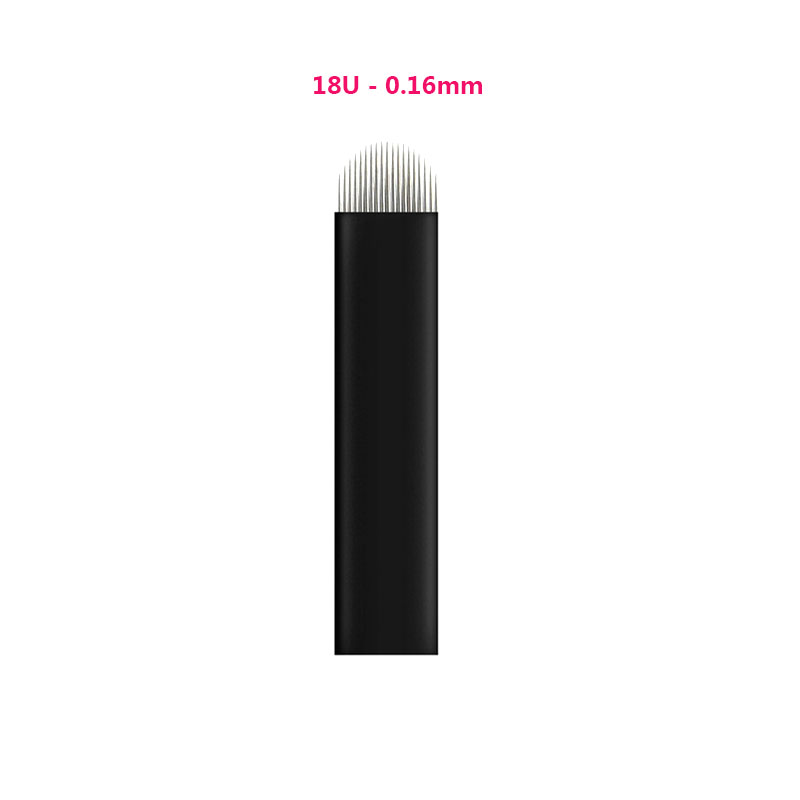 100pcs 0.16mm Black Lamina Microblading Needles U Shape 18 pins Blades Tattoo Needles For Permanent Microblading Embroidery Pen