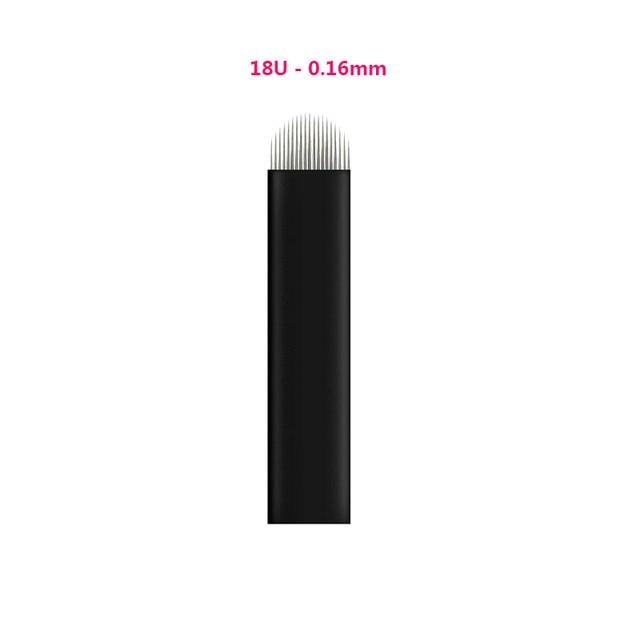 100pcs 0.16mm Black Lamina Microblading Needles U Shape 18 pins Blades Tattoo Needles For Permanent Microblading Embroidery Pen
