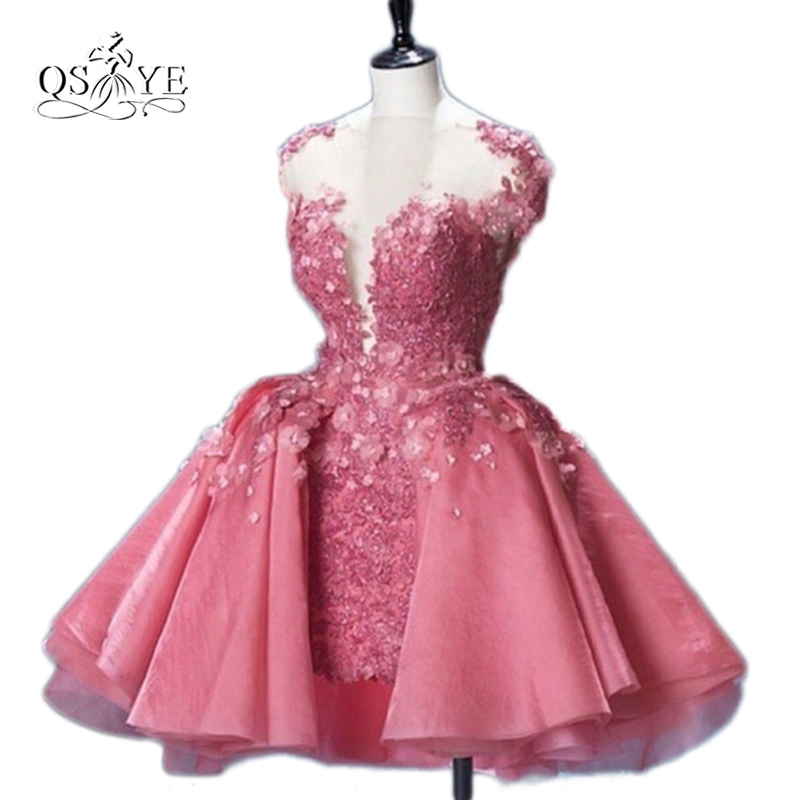 Cute Pink Short Prom Dress Mermaid Puffy 2017 Arrival Ball Gown Mini Appliques 3D Flowers Party Dress For Sweet Girls for Teens