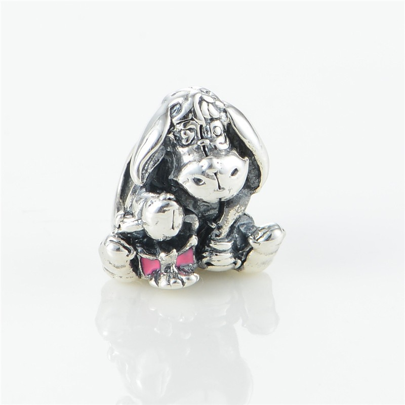 Pandulaso Fits Silver Charms Bracelets 100 925 Sterling Silver Beads Animal Eeyore Charm With Pink Enamel