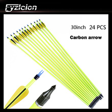 High Quality 24PCS 30 Inch Yellow Rod Carbon Arrow Yellow Black Feather Outdoor Hunting Archery Carbon Arrow 12pcs 30inch high quality yellow rod carbon arrow yellow black feather composite recurve hunting shot yellow rod carbon arrow