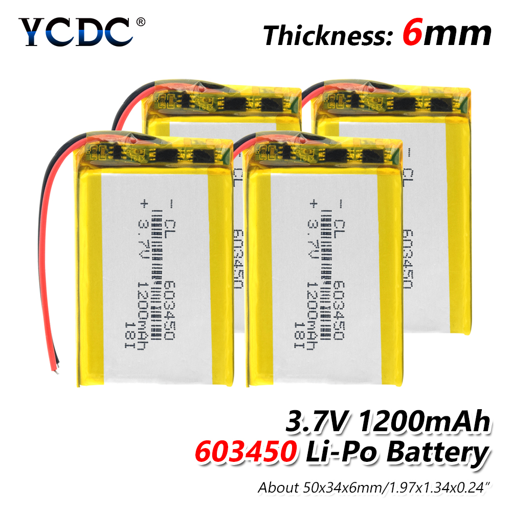 1/2/4 Pieces 3.7V Lithium Ion Polymer 603450 1200mAh Battery Replacement 3.7 Volt Rechargeable Lipo Li-polymer Cells Bateria