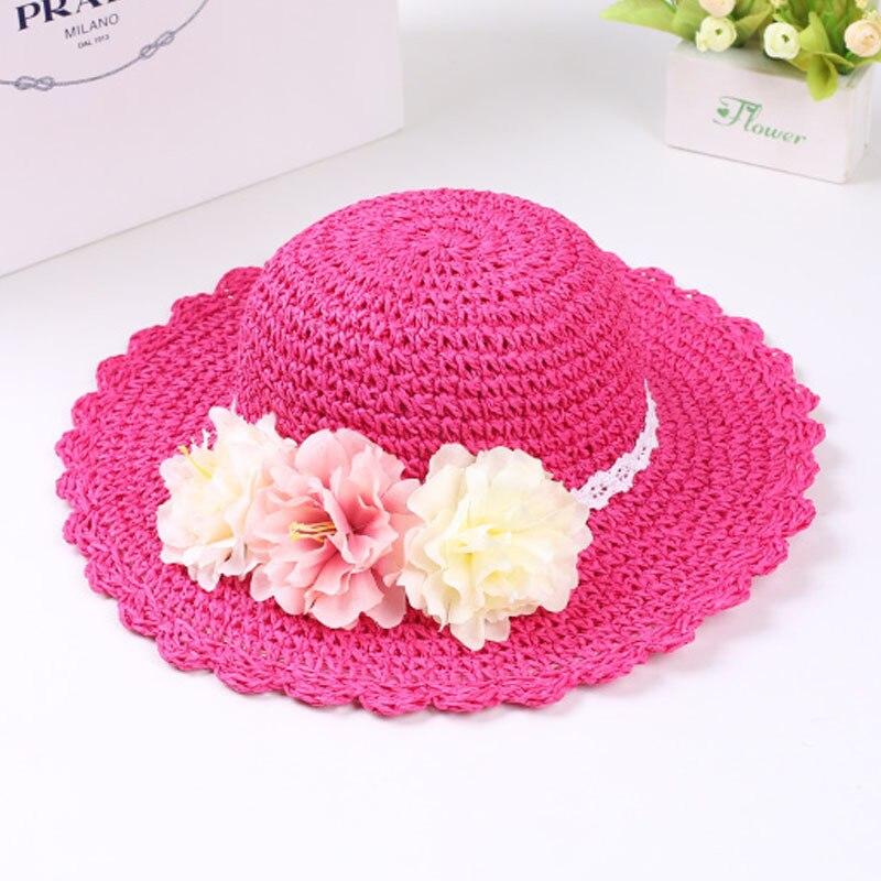 Модная летняя стильная цветная Цветочная широкополая пляжная шляпа с широкими полями для маленьких девочек, соломенная шляпа от солнца, 9 цветов - Цвет: HOT PINK