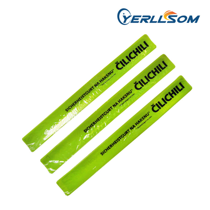 YERLLSOM 3 34cm 500pcs Lot Hot Selling Printed 1 color logo Slap Reflective Bracelets custom writing