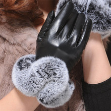 Warm Winter Gloves Female Leather Gloves Rabbit Fur Wrist Mittens Womens Warm Gloves Luxury Design Guantes Full Finger Mittens cheap Gloves Mittens K017-K018 Faux Fur Synthetic Leather Fashion Miya Mona Geometric Adult China women girl PU leather average