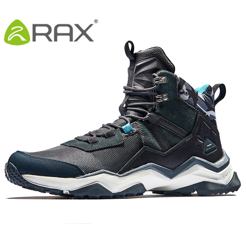 RAX 2017 Mens Waterproof Hiking Boots Outdoor Leather Hiking Shoes Climbing Breathable Trekking Shoes Mountain Boots Men Shoes rax women s hiking shoes waterproof hiking boots men outdoor breathable walking sneakers winter boots women mountain climbing