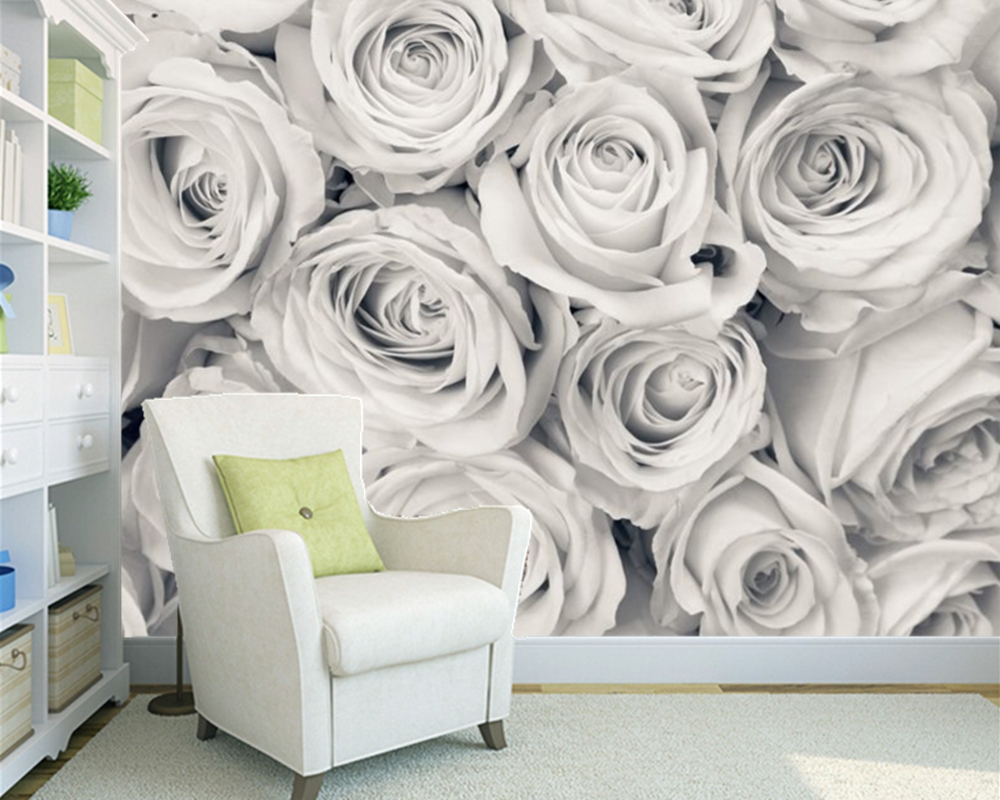 Customized wallpaper flowers, Rose Mist Wallpaper Mural for living room bar KTV background wallpaper home decoration  free shipping cartoon pattern wallpaper leisure bar ktv lounge living room sofa children room background comics wallpaper mural