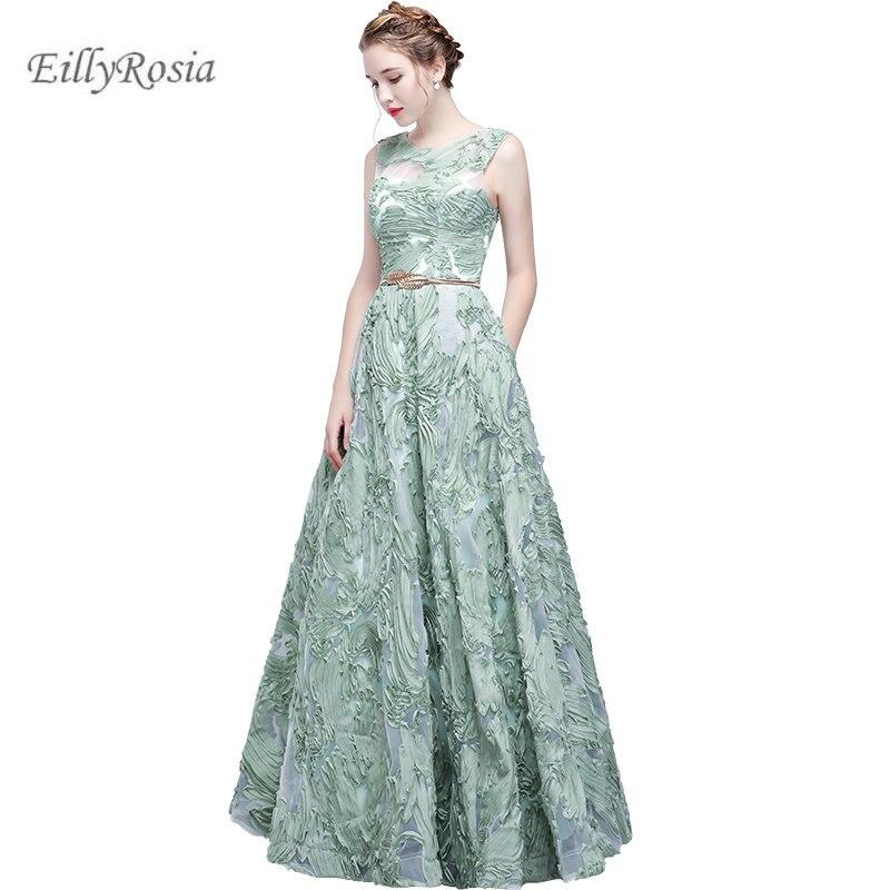 Vestido de fiesta largo verde menta