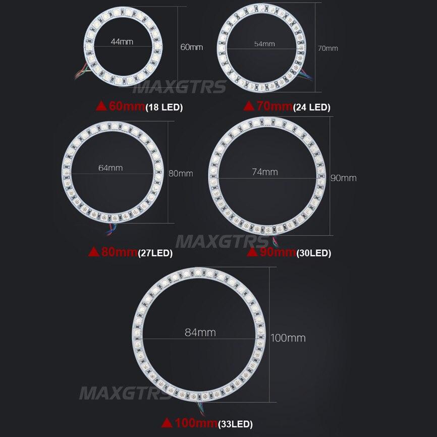 Multi-warna 60mm 70mm 80mm 90mm 100mm 120mm Malaikat Mata 5050 RGB - Lampu mobil - Foto 2