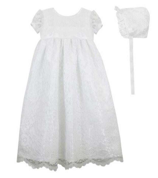 High Quality Handmade Baby Girl Christening Dress With Bonnet Baptism Gown White/Ivory Lace Applique Party Dress 0-24Month lolita baby infant christening dress baptism gown ivory white lace applique baby girl party dress 0 3 6 9 12 15 18 24month