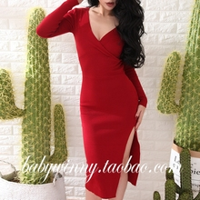 European Street Beat Deep V-neck Slim Women Dresses 2017 Spring New Arrival Elegant Long Sleeve High Waist Split Sheath Dress