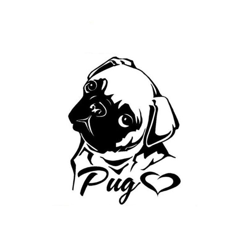 11cm*14.3cm Creative Personality Lovely Animal I Love Eight Bar PUG Vinyl Decals C5-0519