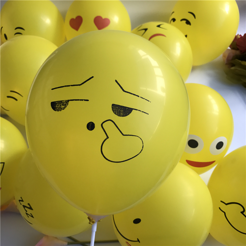 1PC 12inch Smiley Face Emoji Latex Balloon Yellow Expression Inflatable Ballons Childrens Gift Lovely Home Party Decoration