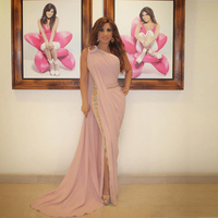 One Shoulder Pink Lebanon Evening Dresses 2017 Indian Saree Side Split Mermaid Plus Celebrity Party Dress Vestido De Festa