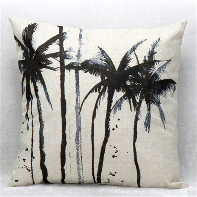 Superbe Abstract Palm Trees Office Nap Chair Cushion Cover Linen Cotton Pillow  Cover 45cmx45 Cm Decorative Pillowcase