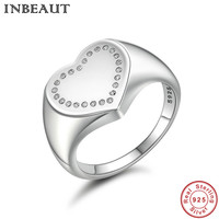 INBEAUT Solid 100 Authentic 925 Sterling Silver Heart Zircon Stone Wedding Engagement Rings For Women New