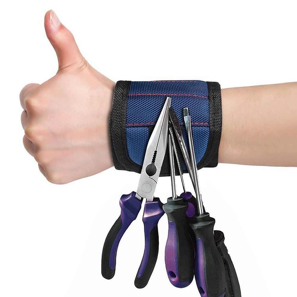 Pocket Super 5 Magnet Wristband Tool Adjustable Tool Wrist Bands For Screws Nails Nuts Bolts Hand Free Drill Bit Tools Holder
