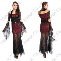 Girls Carnival party long dresses Women Black Spider Vampire Queen Witch Cosplay Costume Halloween Fancy Dress