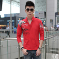 2016 Spring New Arrive Fashion V-Neck collar Design print floral men polos long sleeve slim Fit man polo shirt plus size M-5XL
