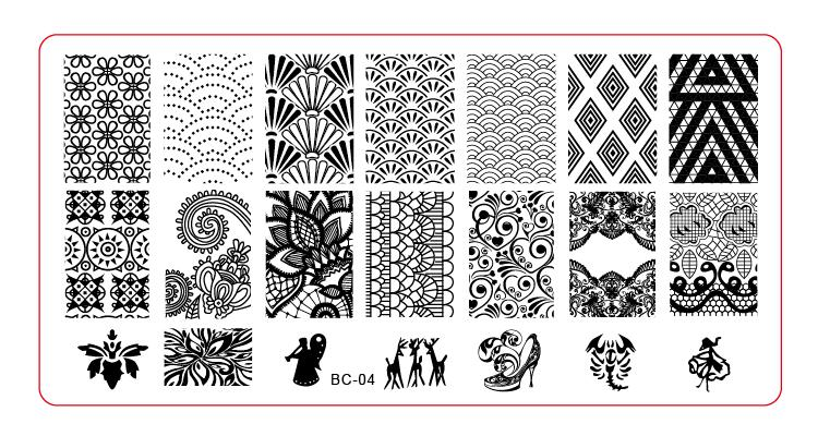 Placa de Imagem-1 S-BC-04 pçs/lote New Plastic Template Manicure Nail Art Imagem Polonês Stamping Placa Stamper Impressão (livre navio)